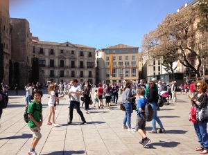 Action in a plaza in Barcelona