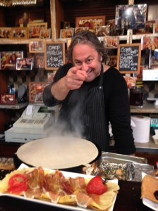 My Argentinean chef starting to make me a delicious crepe at the Market